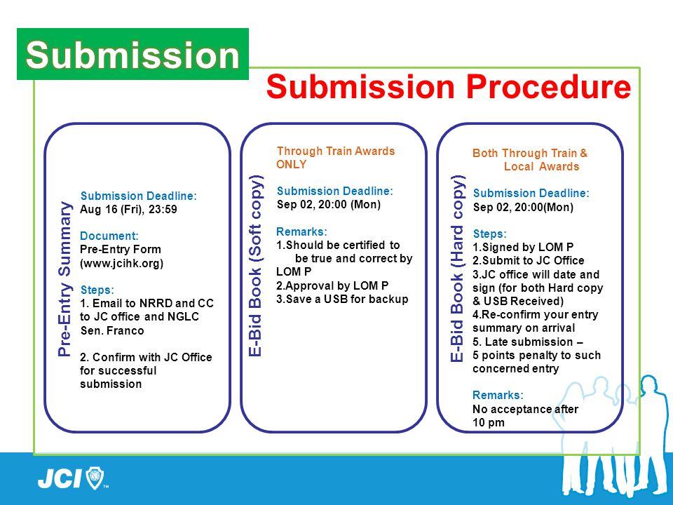 Submission Procedure Pre-Entry SummaryE-Bid Book (Soft copy) E-Bid Book (Hard copy) Submission Deadline: Aug 16 (Fri), 23:59 Document: Pre-Entry Form (www.jcihk.org) Steps: 1.