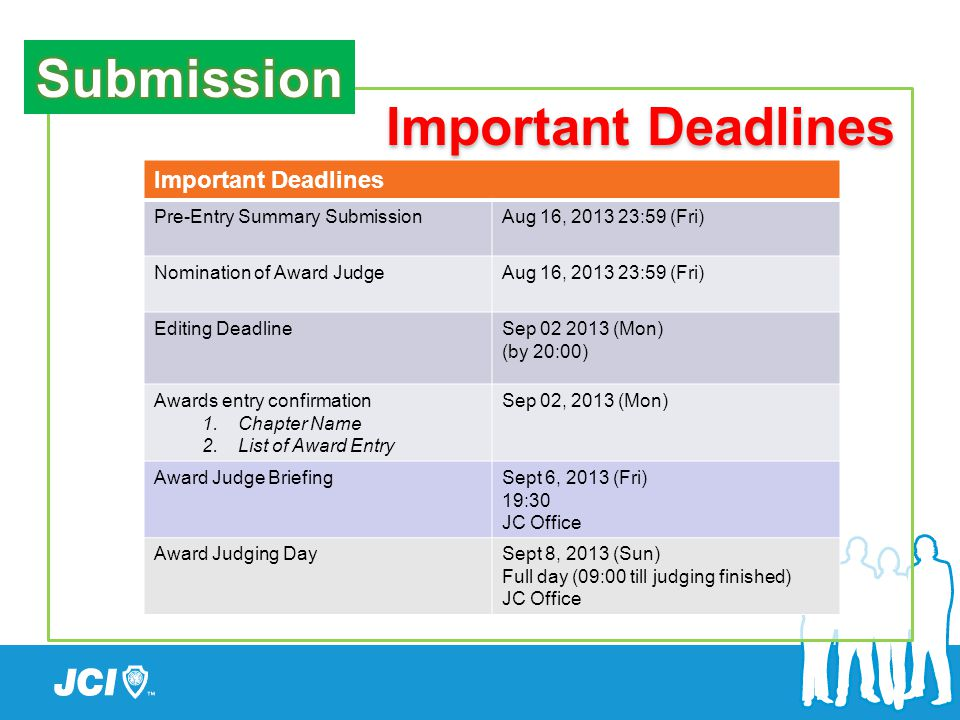 Important Deadlines Pre-Entry Summary SubmissionAug 16, 2013 23:59 (Fri) Nomination of Award JudgeAug 16, 2013 23:59 (Fri) Editing DeadlineSep 02 2013