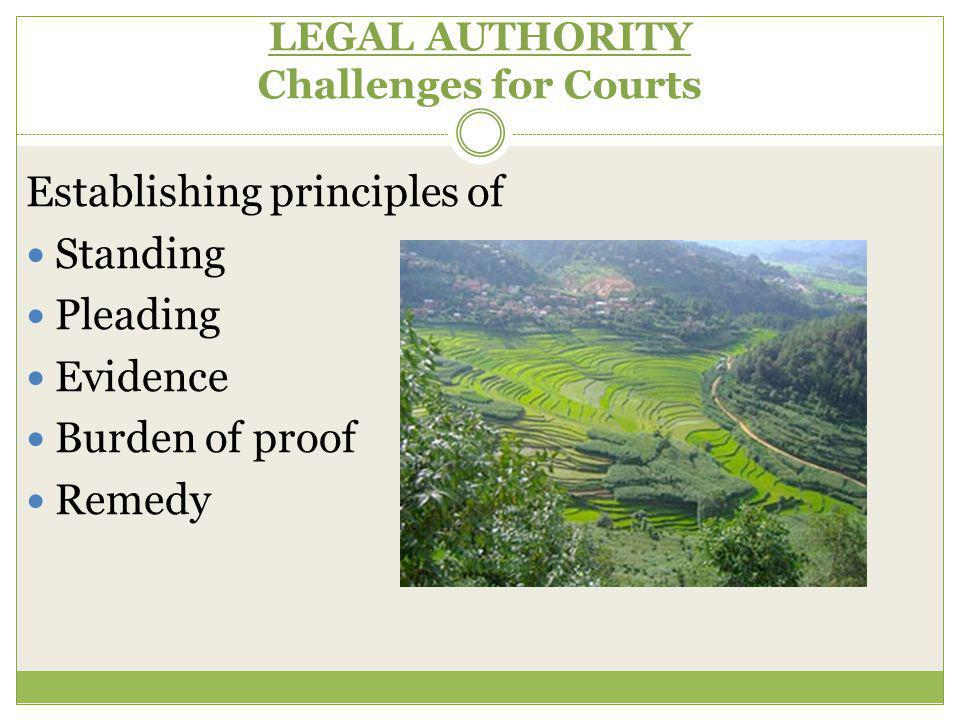 LEGAL AUTHORITY Challenges for Courts Establishing principles of Standing Pleading Evidence Burden of proof Remedy