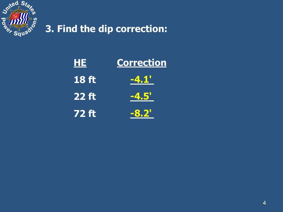 4 3. Find the dip correction: HE Correction 18 ft ____ 22 ft____ 72 ft____ -4.1 -4.5 -8.2
