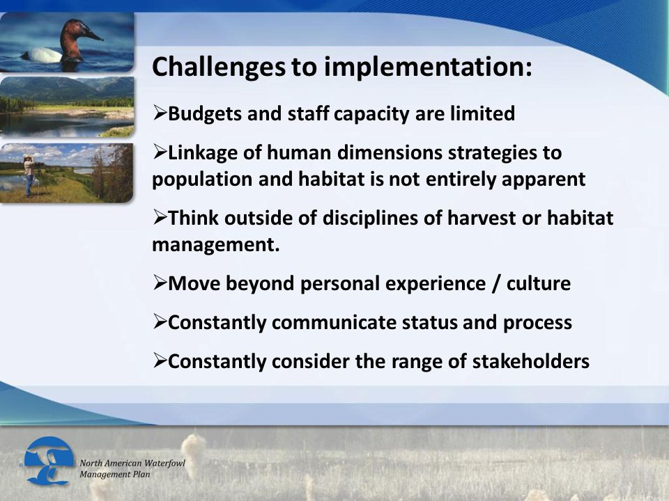 Challenges to implementation:  Budgets and staff capacity are limited  Linkage of human dimensions strategies to population and habitat is not entirely apparent  Think outside of disciplines of harvest or habitat management.