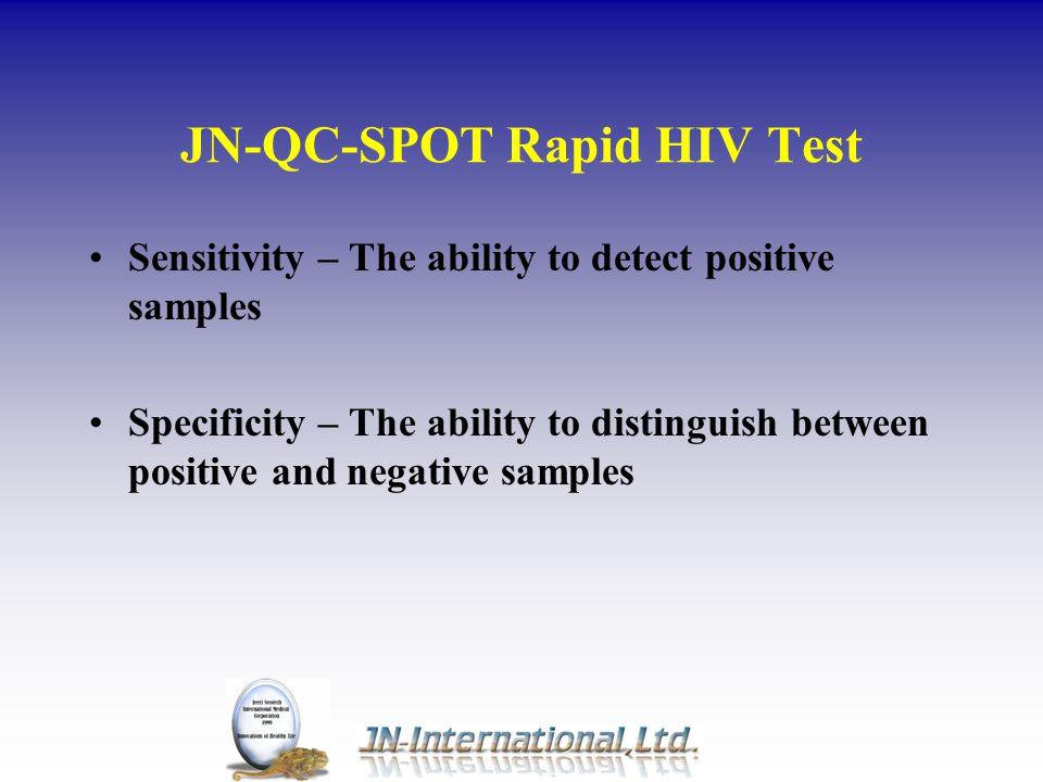 JN-QC-SPOT Rapid HIV Test Development History Development Project began April 1996 Configuration– November 1996 HIV Whole Blood Format Prototype completed – September 1997 Whole Blood Format – February 1998 Combined Serum/plasma and Whole Blood Format – July 1998