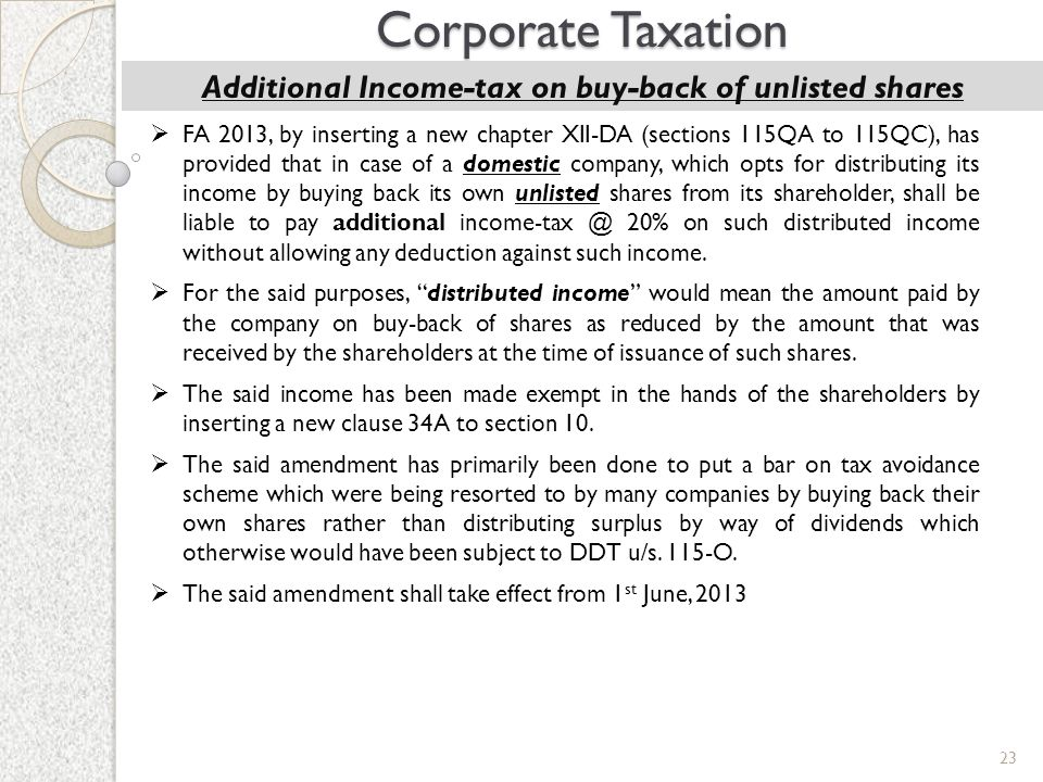 23 Corporate Taxation Additional Income-tax on buy-back of unlisted shares  FA 2013, by inserting a new chapter XII-DA (sections 115QA to 115QC), has
