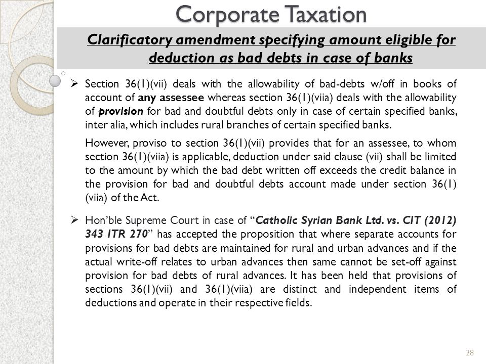 28 Corporate Taxation Clarificatory amendment specifying amount eligible for deduction as bad debts in case of banks  Section 36(1)(vii) deals with t