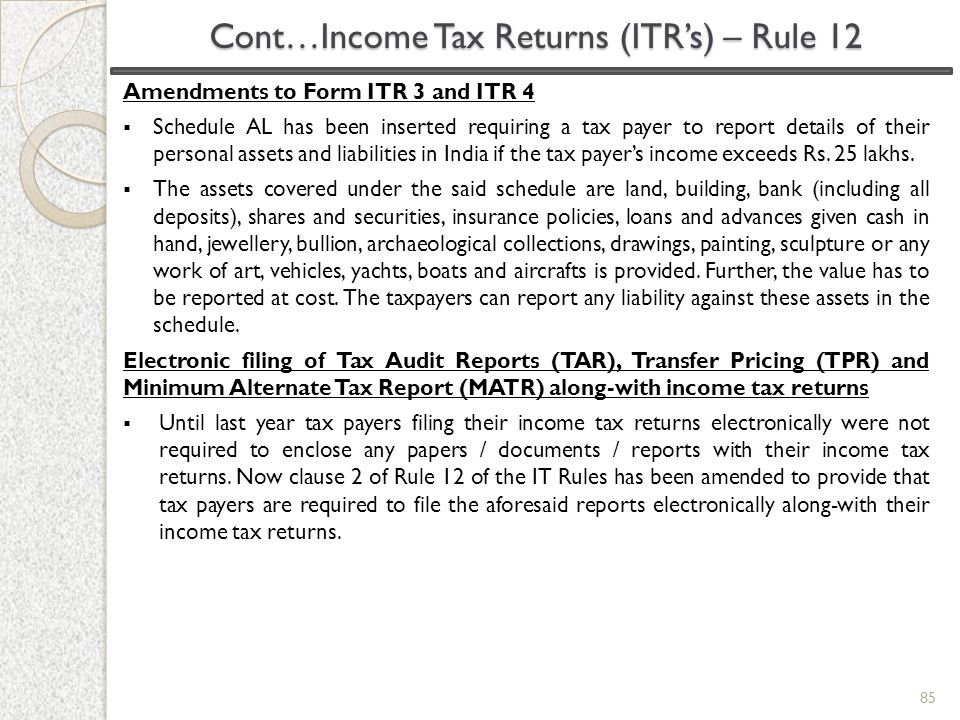 Amendments to Form ITR 3 and ITR 4  Schedule AL has been inserted requiring a tax payer to report details of their personal assets and liabilities in