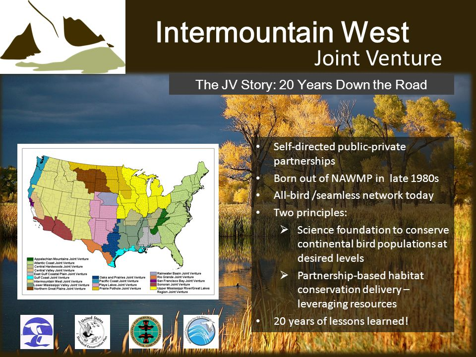Intermountain West Joint Venture Self-directed public-private partnerships Born out of NAWMP in late 1980s All-bird /seamless network today Two principles:  Science foundation to conserve continental bird populations at desired levels  Partnership-based habitat conservation delivery – leveraging resources 20 years of lessons learned.