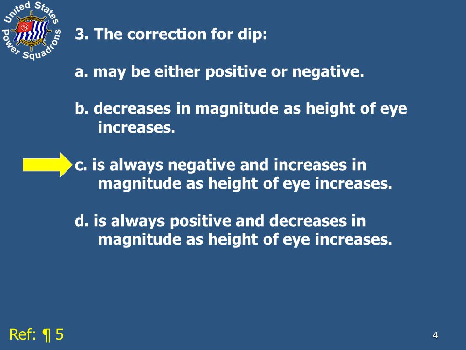 4 3.The correction for dip: a. may be either positive or negative.