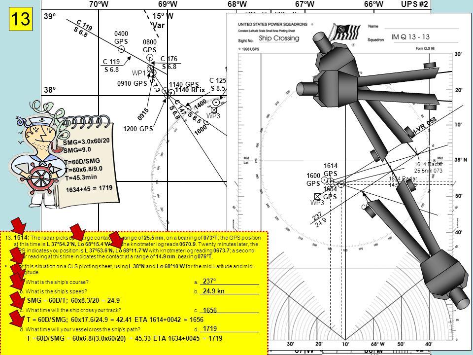 UPS #268ºW69ºW70ºW67ºW66ºW 37Nº 38º 39º 36º 35º 37Nº 38º 39º 36º 35º 68ºW69ºW70ºW67ºW66ºW 15º W Var (ZD +5)(ZD +4) (ZD +5)(ZD +4) Cape Hatteras Virgin Rock 058-238º WP3 WP4 Cape Hatteras Gibraltar 071-251º WP2WP1 13 0400 GPS C 119 S 6.8 0800 GPS C 119 S 6.8 C 176 S 6.8 0910 GPS 0915 1140 RFix 1140 GPS 1200 GPS WP5 C 125 S 8.5 1400 1600 1600 GPS 1614 GPS 1634 GPS CH-VR 058 WP3 1600 GPS 1614 Radar 25.5nm 073 1634 Radar 14.9nm 076 237 S = 60D / T S = 60x8.3/20 S = 24.9 24.9 T = 60D / S T = 60x9.3/24.9 T = 22.4 1634+22 = 1656 SMG=3.0x60/20 SMG=9.0 T=60D/SMG T=60x6.8/9.0 T=45.3min 1634+45 = 1719 CPA 13.