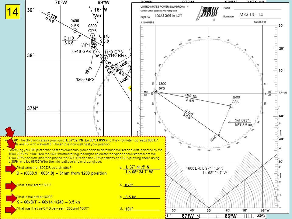 UPS #268ºW69ºW70ºW67ºW66ºW 37Nº 38º 39º 36º 35º 37Nº 38º 39º 36º 35º 68ºW69ºW70ºW67ºW66ºW 15º W Var (ZD +5)(ZD +4) (ZD +5)(ZD +4) WP2 Cape Hatteras Virgin Rock 058-238º WP3 WP4 Cape Hatteras Gibraltar 071-251º WP1 14 0400 GPS C 119 S 6.8 0800 GPS C 119 S 6.8 C 176 S 6.8 0910 GPS 0915 1140 RFix 1140 GPS 1200 GPS WP5 C 125 S 8.5 1400 1600 1600 GPS 1730 1140 RFix1730 GPS 1600 DR: L 37º 41.5' N Lo 68º 24.7' W 14.