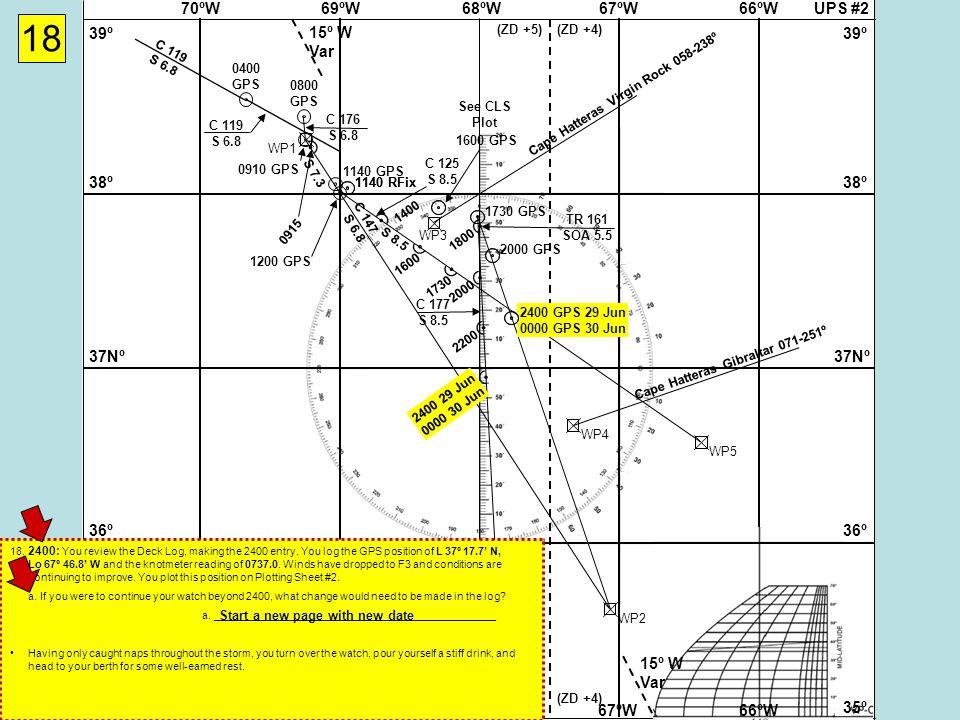 UPS #268ºW69ºW70ºW67ºW66ºW 37Nº 38º 39º 36º 35º 37Nº 38º 39º 36º 35º 68ºW69ºW70ºW67ºW66ºW 15º W Var (ZD +5)(ZD +4) (ZD +5)(ZD +4) 1730 GPS WP2 Cape Hatteras Virgin Rock 058-238º WP3 WP4 Cape Hatteras Gibraltar 071-251º WP1 18 0400 GPS C 119 S 6.8 0800 GPS C 119 S 6.8 C 176 S 6.8 0910 GPS 0915 1140 RFix 1140 GPS 1200 GPS WP5 C 125 S 8.5 1400 1600 1600 GPS 1730 TR 161 SOA 5.5 C 177 S 8.5 18002000 2000 GPS 2200 2400 GPS 29 Jun 0000 GPS 30 Jun 2400 29 Jun 0000 30 Jun S 6.8 See CLS Plot 18.