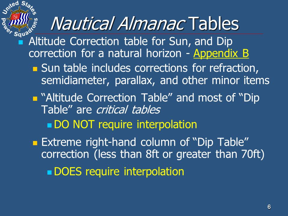 7 Nautical Almanac Tables