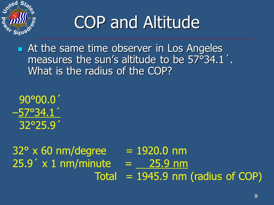 9 COP and Altitude At the same time observer in Los Angeles measures the sun's altitude to be 57°34.1´. What is the radius of the COP? At the same tim