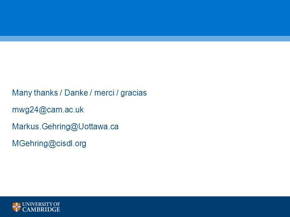 Many thanks / Danke / merci / gracias mwg24@cam.ac.uk Markus.Gehring@Uottawa.ca MGehring@cisdl.org