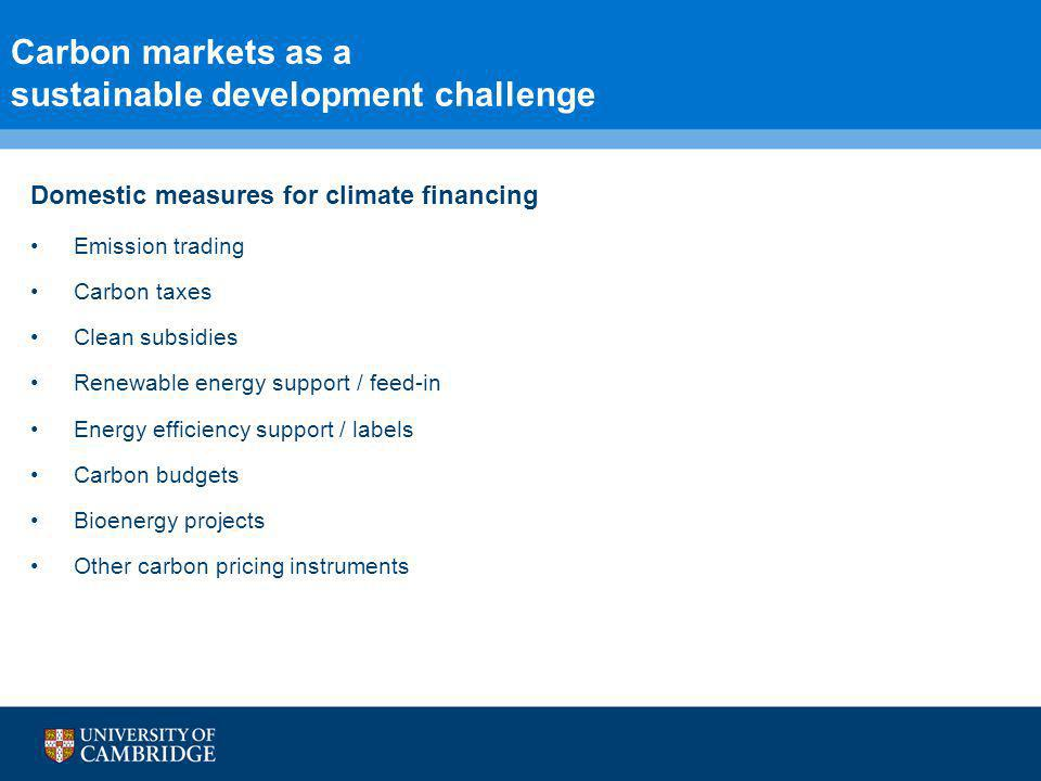 5 Carbon markets as a sustainable development challenge Domestic measures for climate financing Emission trading Carbon taxes Clean subsidies Renewable energy support / feed-in Energy efficiency support / labels Carbon budgets Bioenergy projects Other carbon pricing instruments