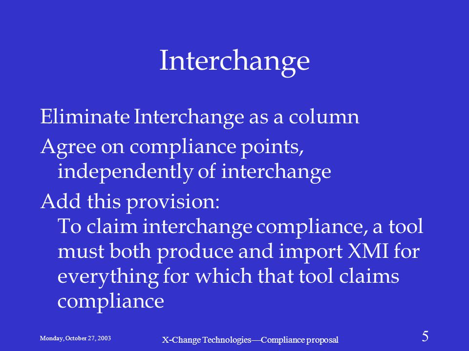 Monday, October 27, 2003 X-Change Technologies—Compliance proposal 5 Interchange Eliminate Interchange as a column Agree on compliance points, indepen