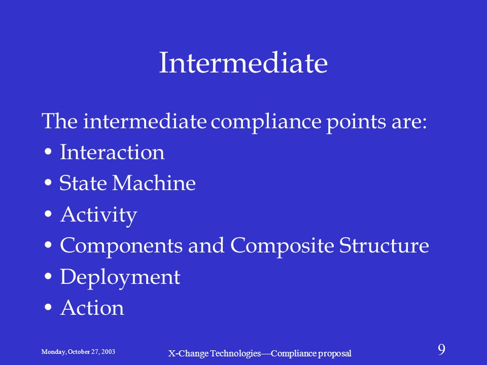 Monday, October 27, 2003 X-Change Technologies—Compliance proposal 9 Intermediate The intermediate compliance points are: Interaction State Machine Ac