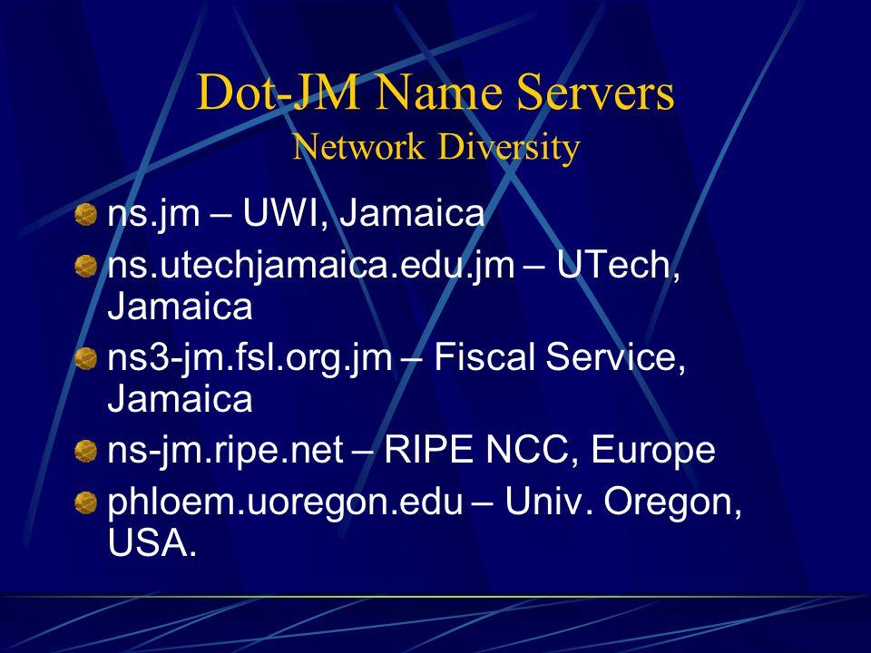 Dot-JM Name Servers Network Diversity ns.jm – UWI, Jamaica ns.utechjamaica.edu.jm – UTech, Jamaica ns3-jm.fsl.org.jm – Fiscal Service, Jamaica ns-jm.ripe.net – RIPE NCC, Europe phloem.uoregon.edu – Univ.