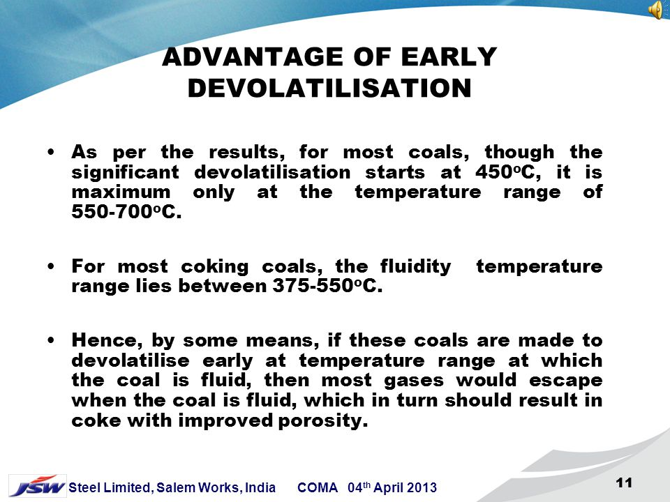 10 Steel Limited, Salem Works, India COMA 04 th April 2013 10 PROCEDURE FOR STUDY OF DEVOLATILISATION A sample of 500 grams of coal is taken in the re