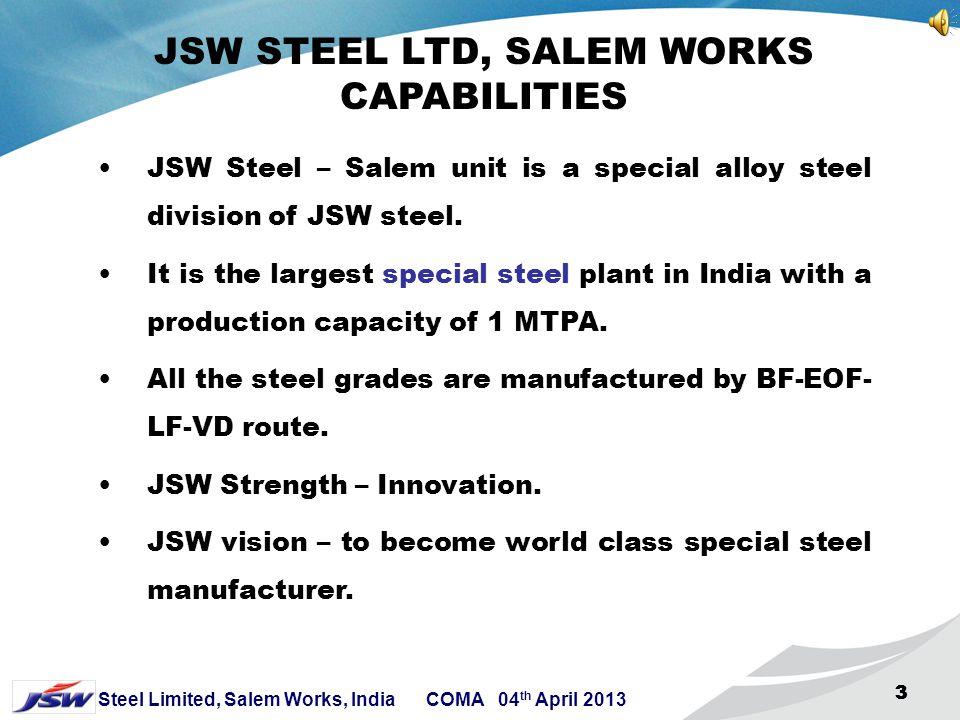 2 Steel Limited, Salem Works, India COMA 04 th April 2013 22 2 P R Jindal Sajjan Jindal Ratan Jindal Naveen Jindal Jindal Stainless Jindal Steel & Pow
