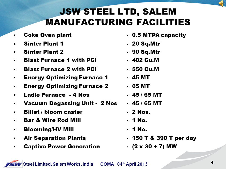 3 Steel Limited, Salem Works, India COMA 04 th April 2013 333 JSW STEEL LTD, SALEM WORKS CAPABILITIES JSW Steel – Salem unit is a special alloy steel