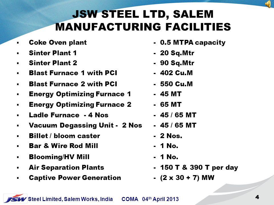 4 Steel Limited, Salem Works, India COMA 04 th April 2013 444 JSW STEEL LTD, SALEM MANUFACTURING FACILITIES  Coke Oven plant - 0.5 MTPA capacity  Sinter Plant 1 - 20 Sq.Mtr  Sinter Plant 2 - 90 Sq.Mtr  Blast Furnace 1 with PCI - 402 Cu.M  Blast Furnace 2 with PCI - 550 Cu.M  Energy Optimizing Furnace 1- 45 MT  Energy Optimizing Furnace 2 - 65 MT  Ladle Furnace - 4 Nos - 45 / 65 MT  Vacuum Degassing Unit - 2 Nos- 45 / 65 MT  Billet / bloom caster - 2 Nos.
