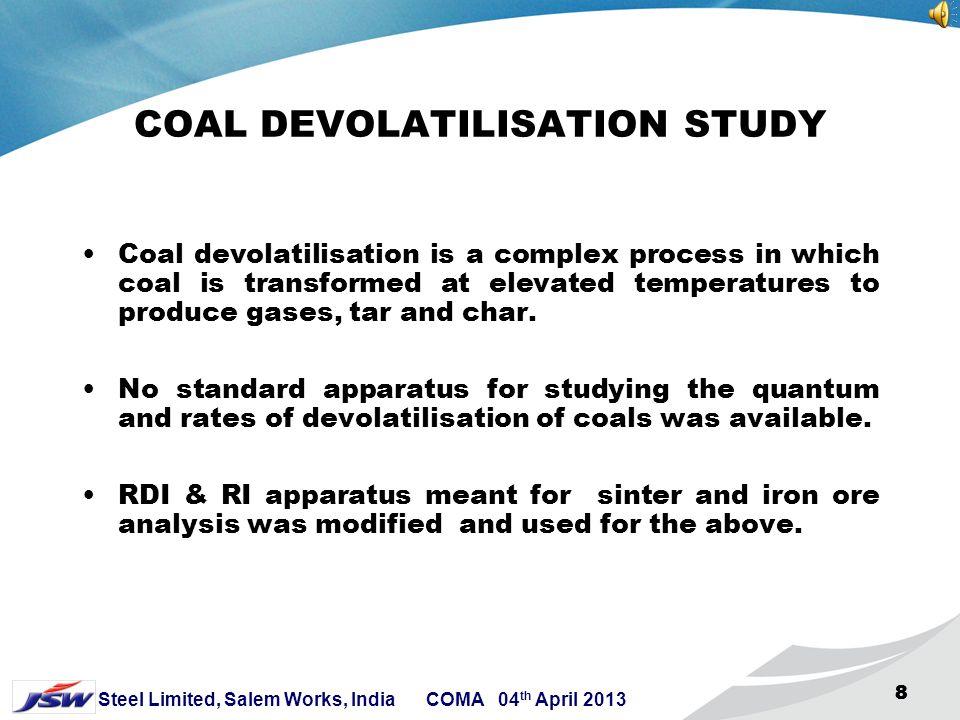 18 Steel Limited, Salem Works, India COMA 04 th April 2013 18 DEVOLATILISATION CURVE OF GREGORY COAL