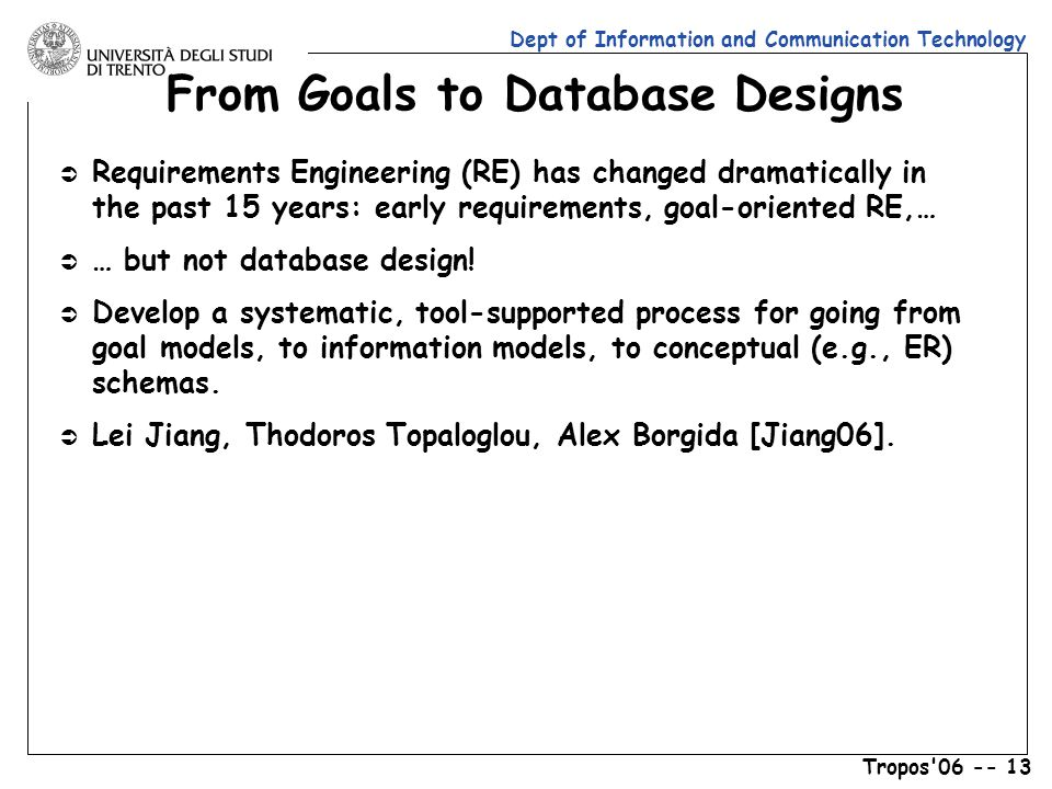 Dept of Information and Communication Technology Tropos 06 -- 13 From Goals to Database Designs Ü Requirements Engineering (RE) has changed dramatically in the past 15 years: early requirements, goal-oriented RE,… Ü … but not database design.
