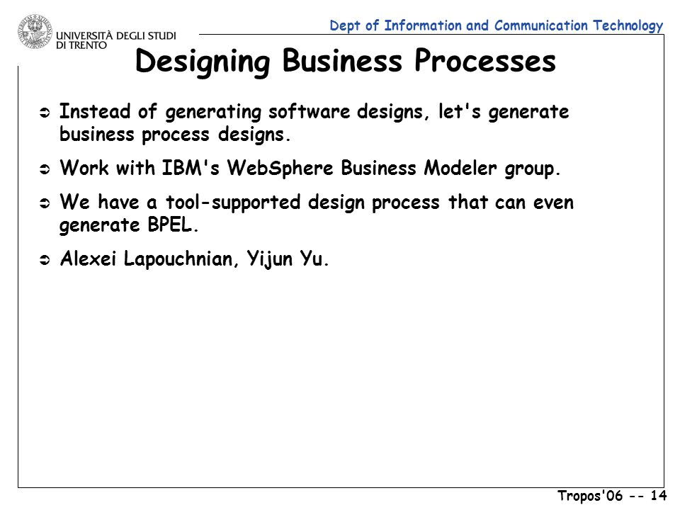 Dept of Information and Communication Technology Tropos 06 -- 14 Designing Business Processes Ü Instead of generating software designs, let s generate business process designs.