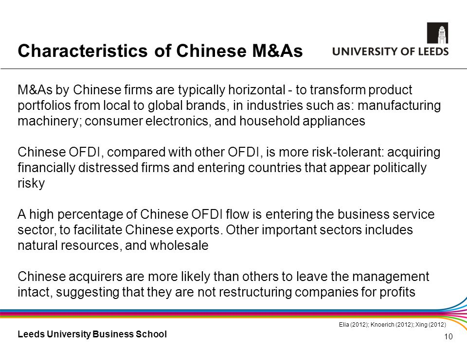 Leeds University Business School M&As by Chinese firms are typically horizontal - to transform product portfolios from local to global brands, in indu