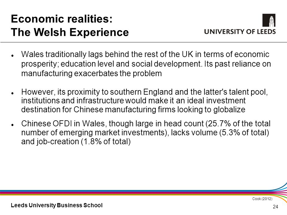 Leeds University Business School Wales traditionally lags behind the rest of the UK in terms of economic prosperity; education level and social develo