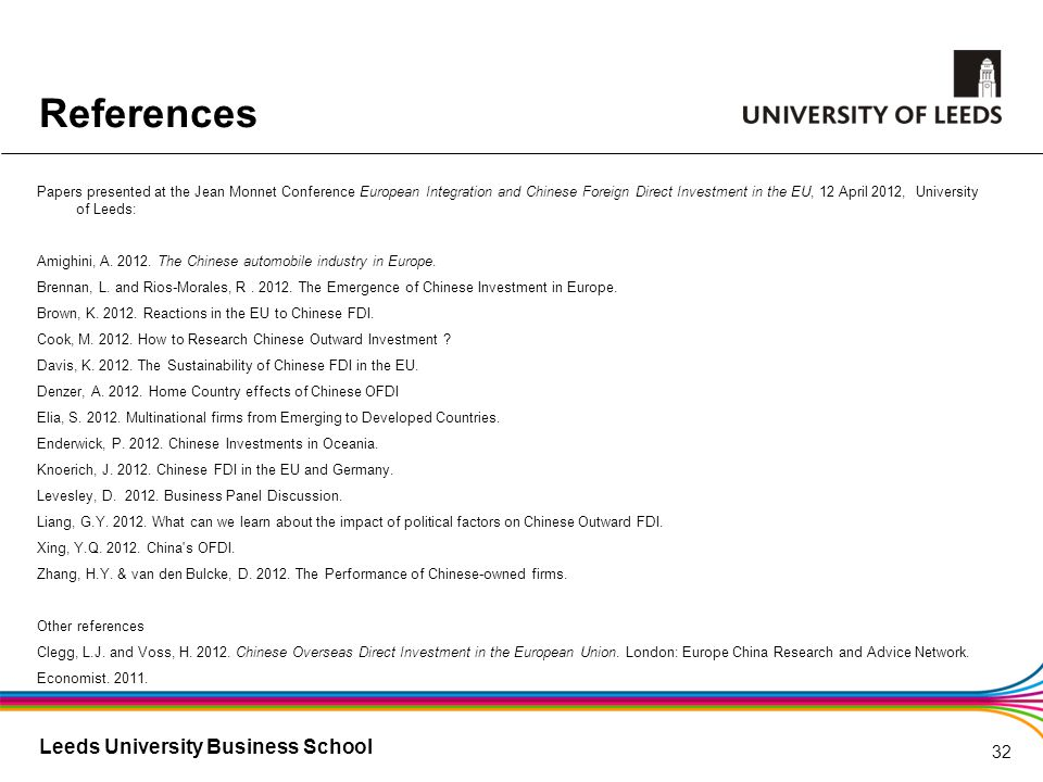 Leeds University Business School References Papers presented at the Jean Monnet Conference European Integration and Chinese Foreign Direct Investment