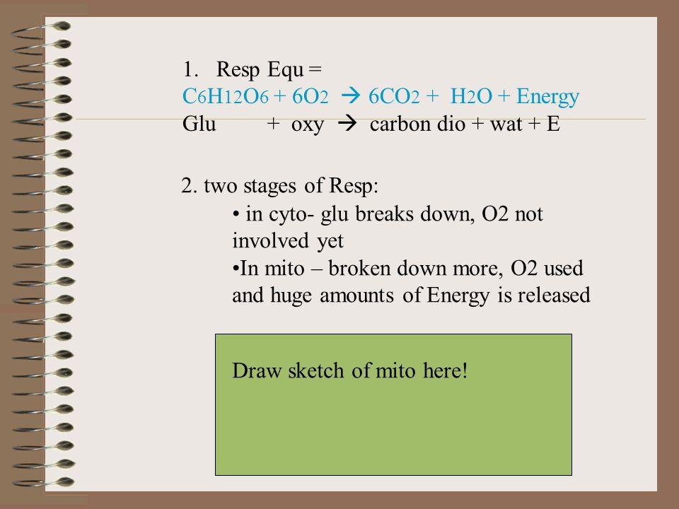1.Resp Equ = C 6 H 12 O 6 + 6O 2  6CO 2 + H 2 O + Energy Glu + oxy  carbon dio + wat + E 2.