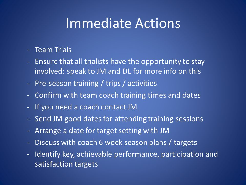 Immediate Actions -Team Trials -Ensure that all trialists have the opportunity to stay involved: speak to JM and DL for more info on this -Pre-season training / trips / activities -Confirm with team coach training times and dates -If you need a coach contact JM -Send JM good dates for attending training sessions -Arrange a date for target setting with JM -Discuss with coach 6 week season plans / targets -Identify key, achievable performance, participation and satisfaction targets