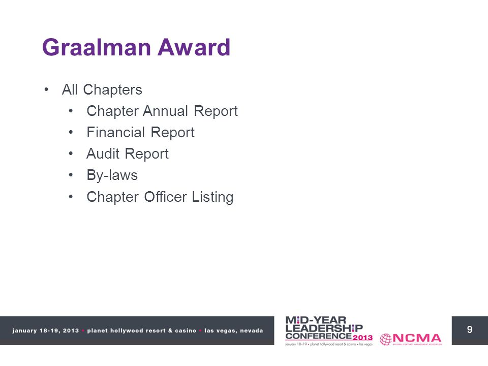 9 Graalman Award All Chapters Chapter Annual Report Financial Report Audit Report By-laws Chapter Officer Listing