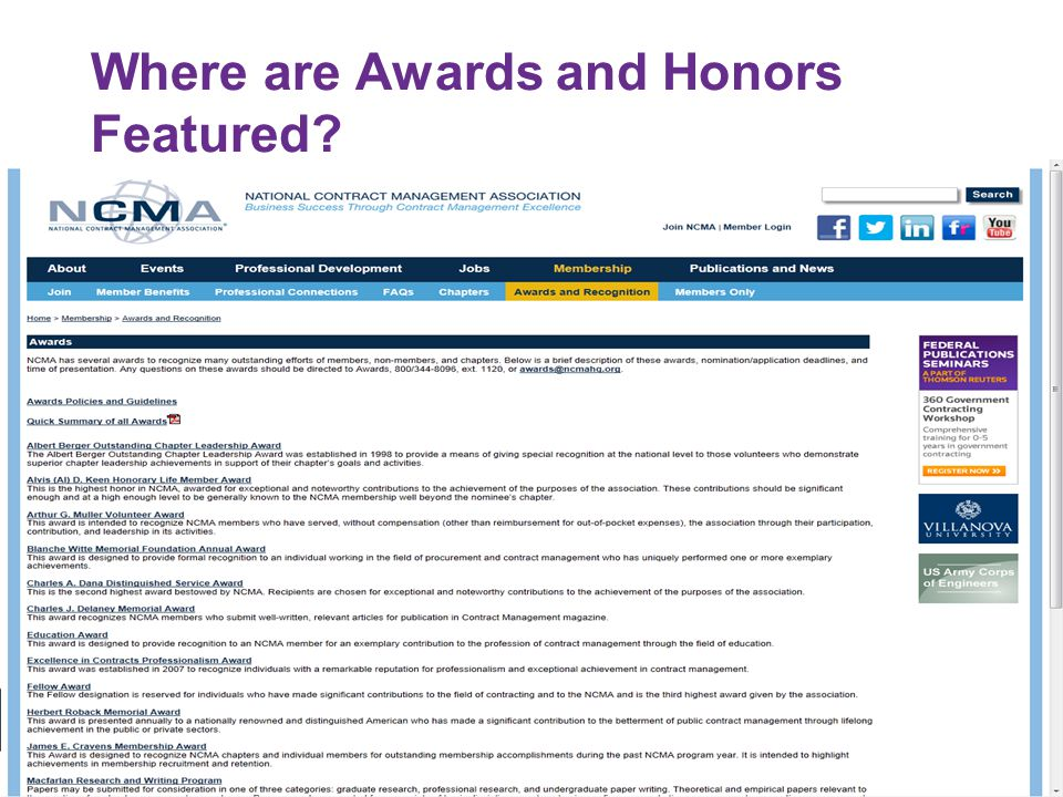 3 Where are Awards and Honors Featured?