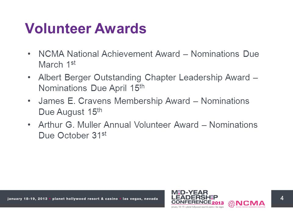 4 Volunteer Awards NCMA National Achievement Award – Nominations Due March 1 st Albert Berger Outstanding Chapter Leadership Award – Nominations Due A