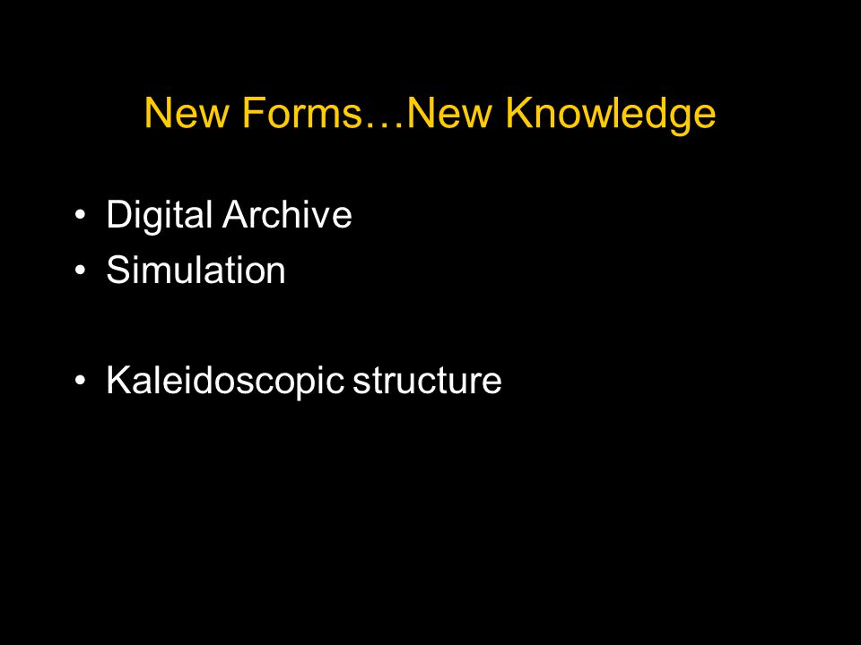 New Forms…New Knowledge Digital Archive Simulation Kaleidoscopic structure