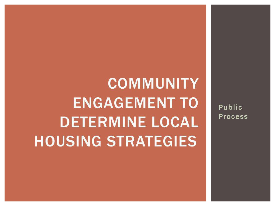Public Process COMMUNITY ENGAGEMENT TO DETERMINE LOCAL HOUSING STRATEGIES