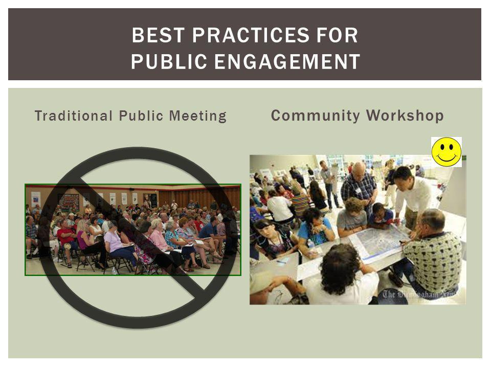 Traditional Public Meeting Community Workshop BEST PRACTICES FOR PUBLIC ENGAGEMENT