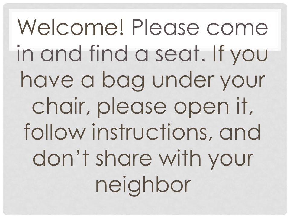 Welcome. Please come in and find a seat.