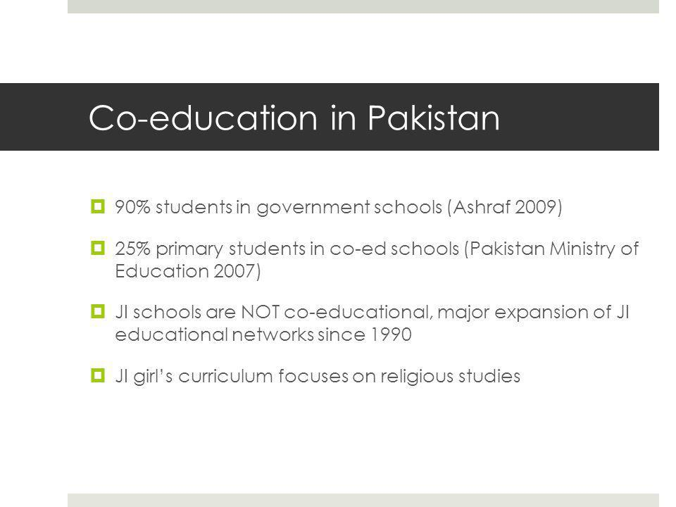 Co-education in Pakistan  90% students in government schools (Ashraf 2009)  25% primary students in co-ed schools (Pakistan Ministry of Education 2007)  JI schools are NOT co-educational, major expansion of JI educational networks since 1990  JI girl's curriculum focuses on religious studies