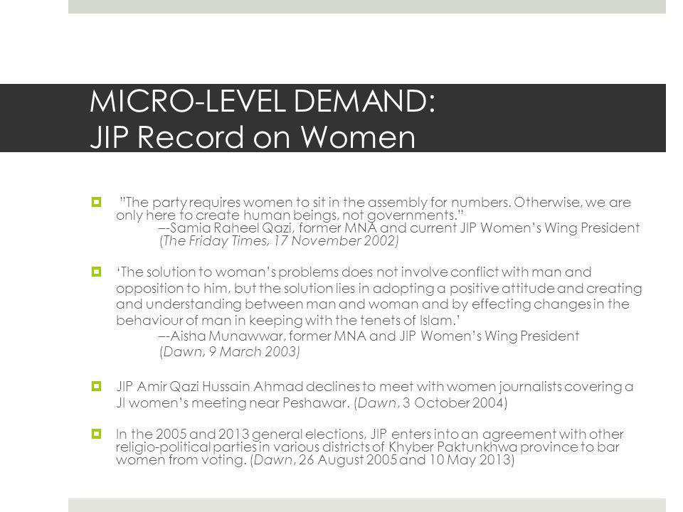 MICRO-LEVEL DEMAND: JIP Record on Women  The party requires women to sit in the assembly for numbers.