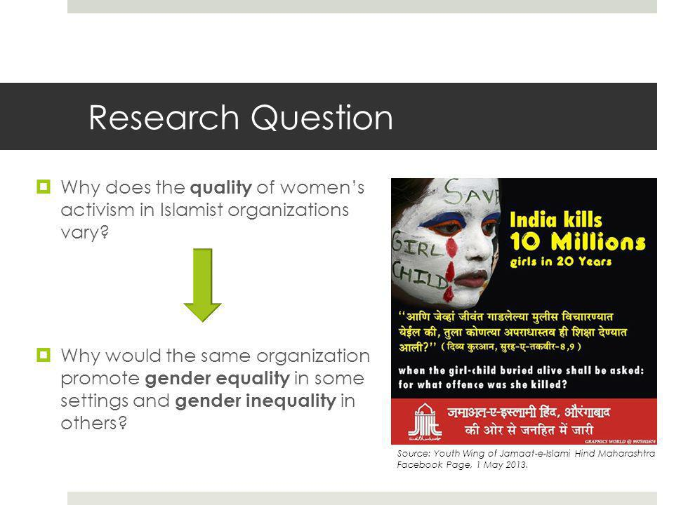 Research Question  Why does the quality of women's activism in Islamist organizations vary.