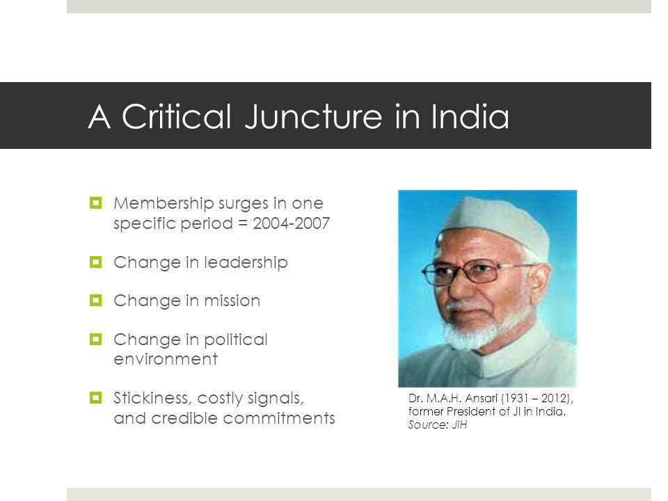 A Critical Juncture in India  Membership surges in one specific period = 2004-2007  Change in leadership  Change in mission  Change in political environment  Stickiness, costly signals, and credible commitments Dr.