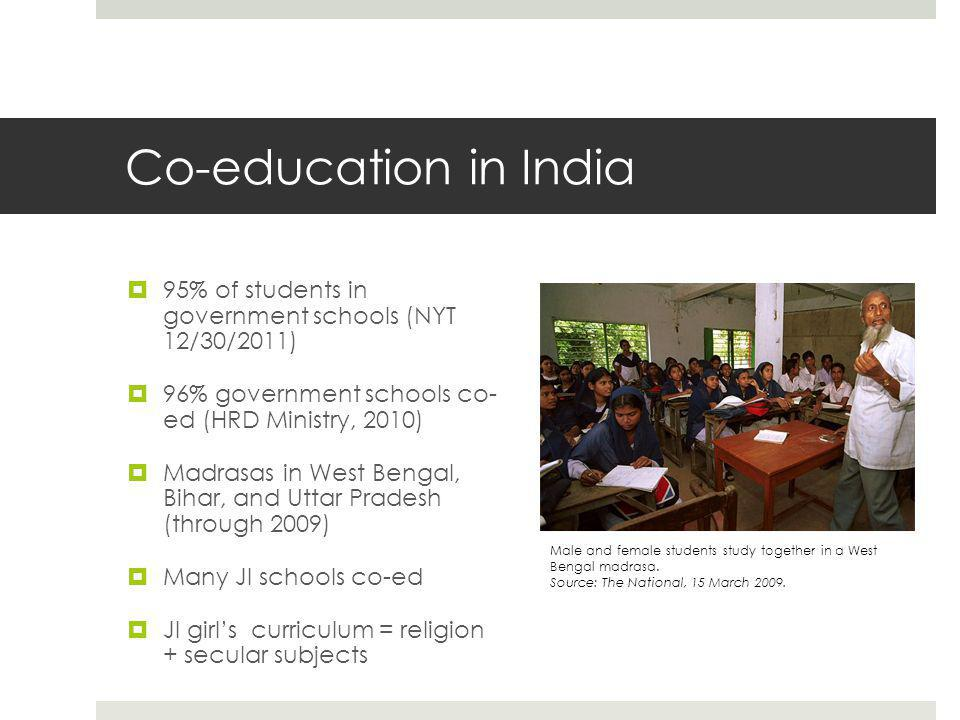 Co-education in India  95% of students in government schools (NYT 12/30/2011)  96% government schools co- ed (HRD Ministry, 2010)  Madrasas in West Bengal, Bihar, and Uttar Pradesh (through 2009)  Many JI schools co-ed  JI girl's curriculum = religion + secular subjects Male and female students study together in a West Bengal madrasa.