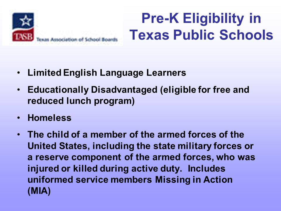 Integration of Pre-K Efforts State Center for Early Childhood Education – (SB 76, 2003) Texas Early Education Model (TEEM) Texas Early Childhood Education Coalition (TECEC) 2004 launches The Texas Plan, a collaboratively developed ten-year public policy vision to enhance early childhood education and development 2006 Bush School of Government and Public Service at Texas A & M University conducted conservative cost- benefit analysis of quality Pre-Kindergarten.