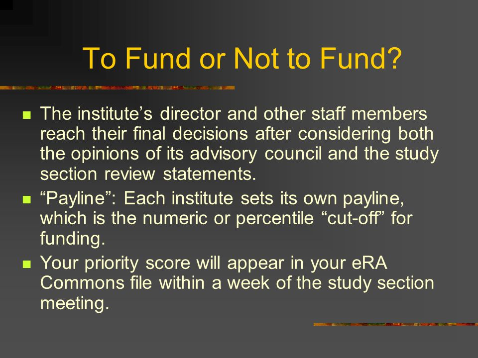 To Fund or Not to Fund? The institute's director and other staff members reach their final decisions after considering both the opinions of its adviso