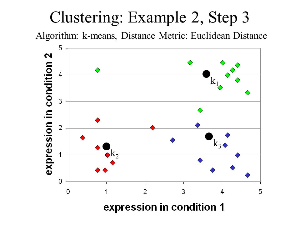 Clustering: Example 2, Step 3 Algorithm: k-means, Distance Metric: Euclidean Distance k1k1 k2k2 k3k3