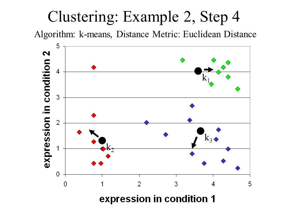 Clustering: Example 2, Step 4 Algorithm: k-means, Distance Metric: Euclidean Distance k1k1 k2k2 k3k3