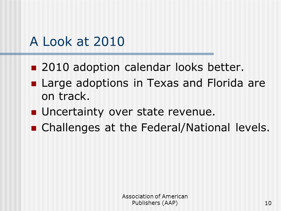 Association of American Publishers (AAP)10 A Look at 2010 2010 adoption calendar looks better.